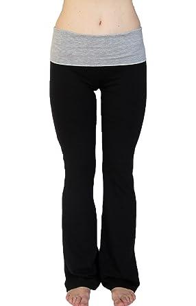 a8c36a17b2aa46 Amazon.com: Popular Basics Women's Cotton Yoga Pants With Fold Down ...