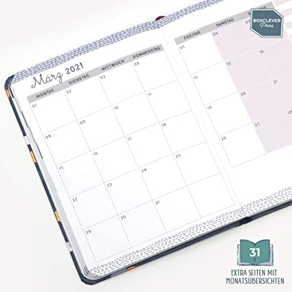 Aug./' 2021 Flintgrau Planer 2020 2021 mit Notizseiten /& mehr Kalender A6 von Aug /'20 Boxclever Press Perfect Year Kalender 2020 2021 mit Buchh/ülle aus genarbtem Kunstleder