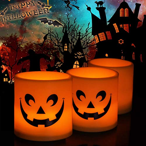 Halloween Lights Battery Operated Indoor Flameless Candles Orange Tea Lights Skull Lights Led Jack-o-Lantern Face Candles Flicker Electric Light for Pumpkin Yard Decorations Halloween Party Decor