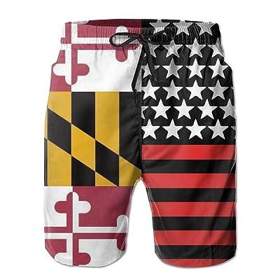 USA Maryland USA Flag Men's Summer Beach Quick-Dry Surf Swim Trunks Boardshorts Cargo Pants