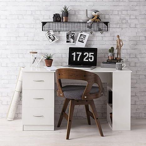 Weiß Computertisch Schreibtisch - 3 Schubladen + 3 Regale - Arbeitstisch  Bürotisch