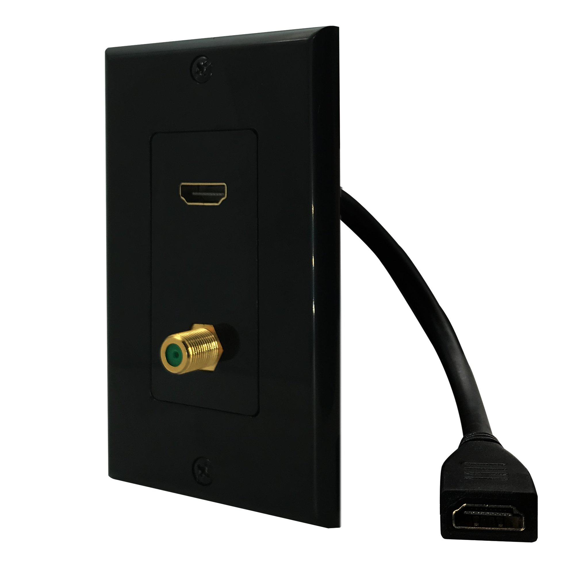 HDMI Pigtail Cable +F Connector Coaxial Gold Plated Brass Wall Plate With Single Gang low Voltage Mounting Bracket,Yomyrayhu,Work for Home Theater,HDTV and More(Black) by Yomyrayhu (Image #3)