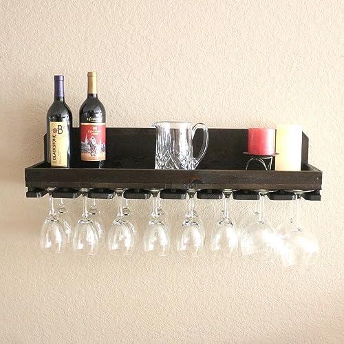 32u0026quot; Rustic Wood Wine Rack Shelf U0026 Hanging Stemware Holder For 16 Wine  Glasses Bar