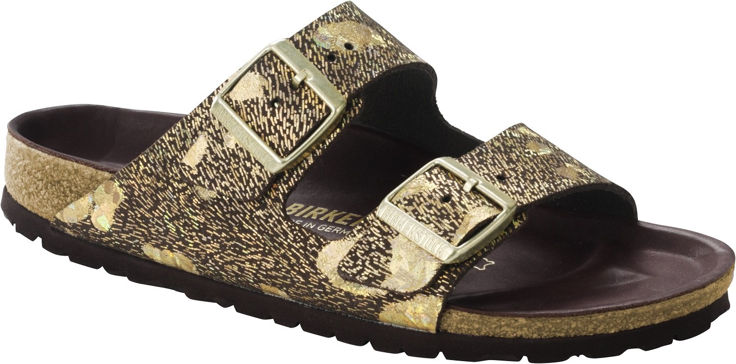 Birkenstock Women's Arizona Lux Sandal Metallic Brown Leather Size 37 M EU by Birkenstock