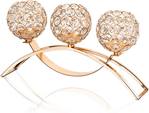 Gold Crystal 3 Arms Candle Holders