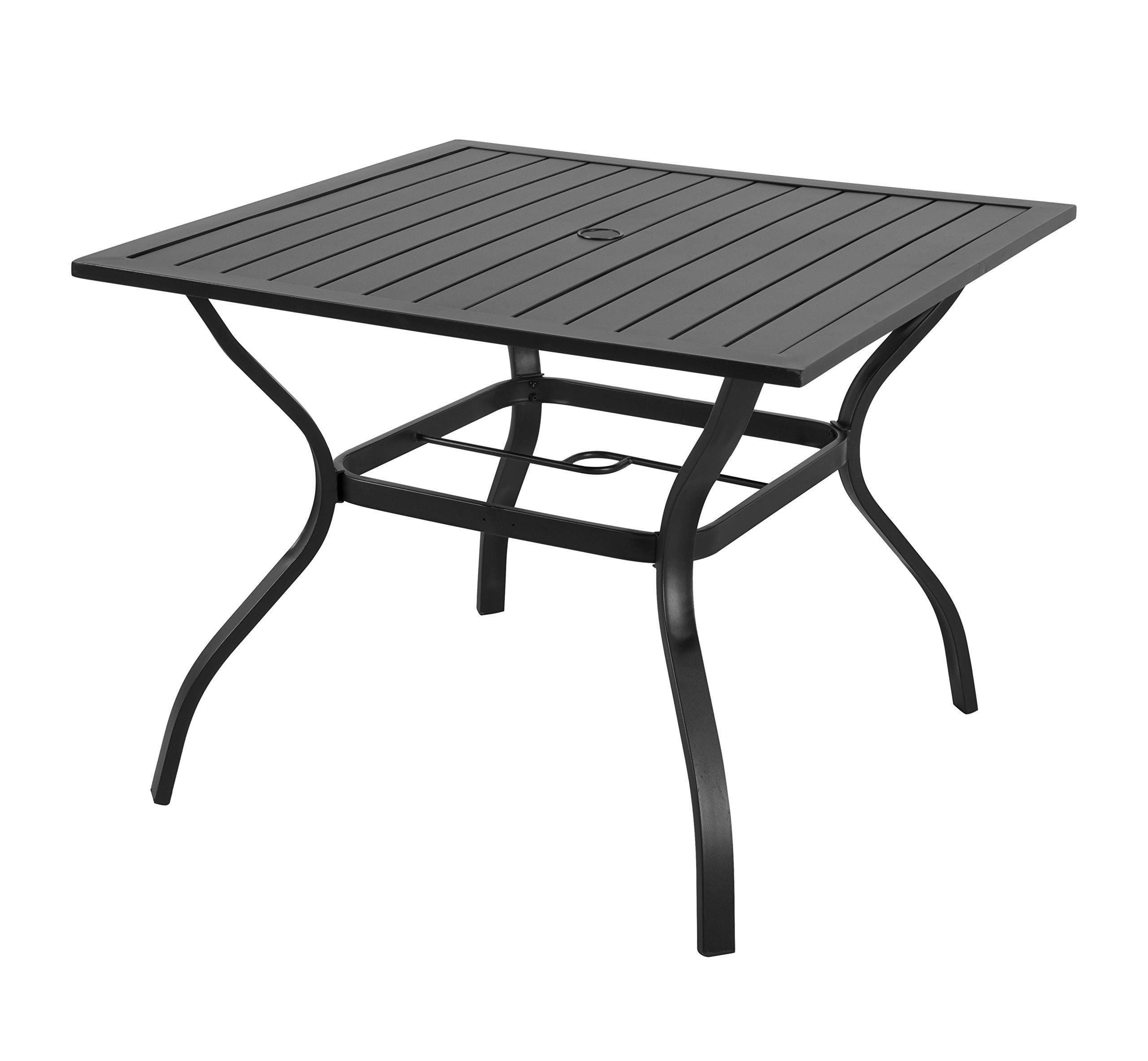 EMERIT Outdoor Patio Bistro Metal Dining Table with Umbrella Hole 37''x37'',Black (Dining Table)