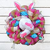 Easter Door Decorations,Bunny Butt and Ears Wreath,Easter Wreath Hanging Decor,Multicolor Front Door Decoration Ornaments