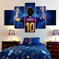 HSART 5 Piezas Lona Pinturas 10 Messi Posters Famoso Estrellas de Fútbol Mural Deportes Impresión Imagen Habitación de Los Niños Decoración,A,20x30x2+20x50x1+20x40x2