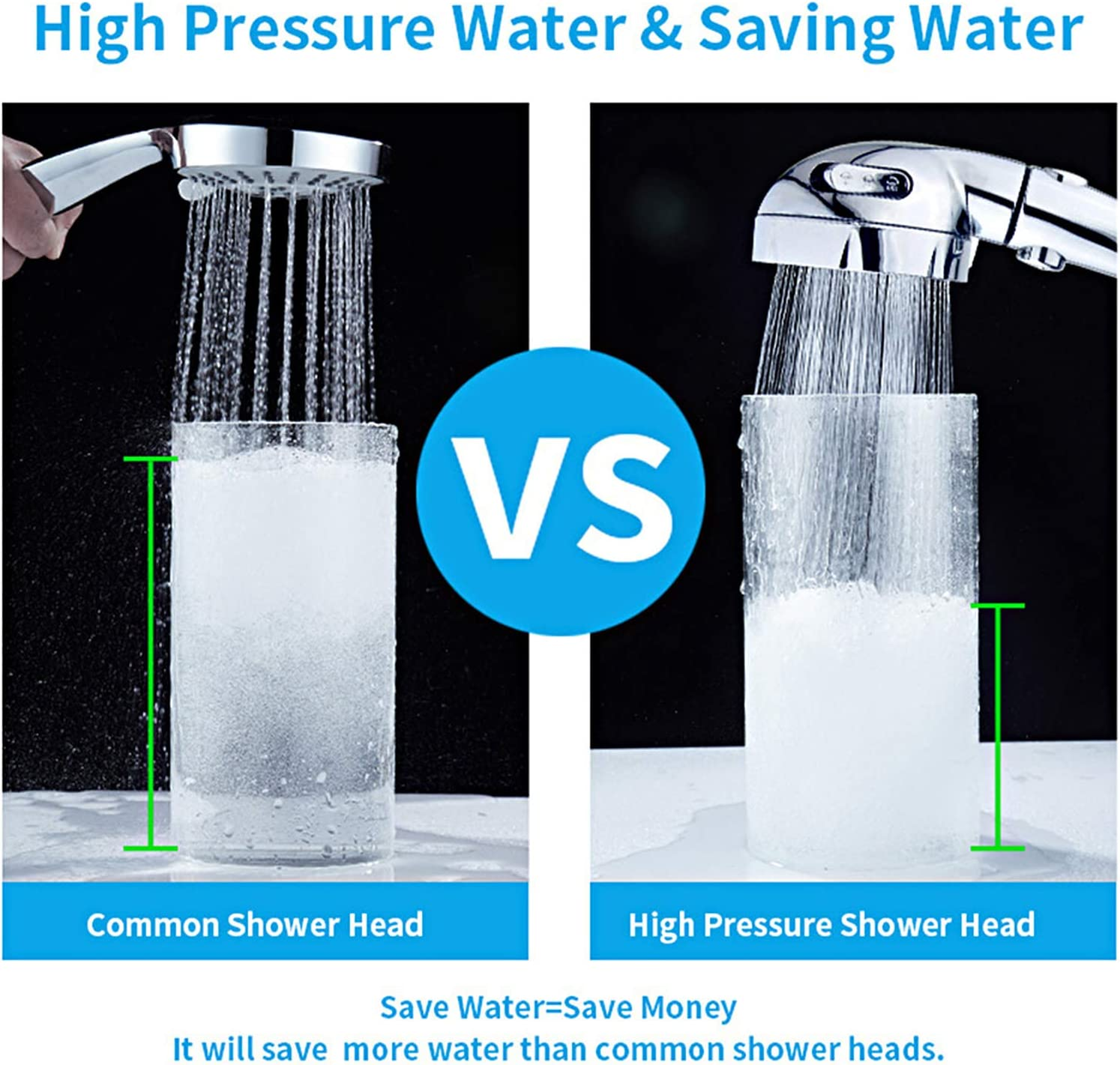 KAIYING High Pressure Handheld Shower Head with ON//OFF Pause Switch 3 Spray Modes Shower Wand with Shut Off Button Removable Camper Shower Head with Hose and Adjustable Angle Bracket