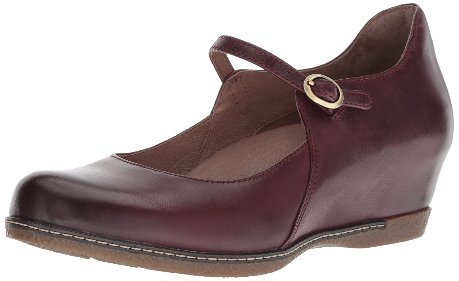 Wine Burnished Nubuck Dansko Womens Loralie Mary Jane Flat