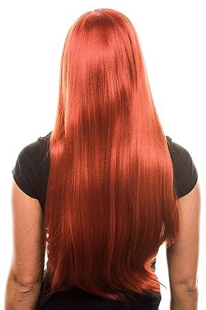 Pelo Largo Peluca (Pelo Liso) en 10 Naranja-Rojo