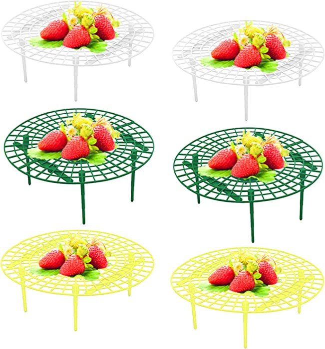 AUHOKY 6 Packs Strawberry Supports Plant Cages Cradles, Premium Plastic Vegetable Growing Rack Plant Climbing Rack, Garden Stand Keeping Fruit Elevated to Avoid Ground Rot(Green+Yellow+White)