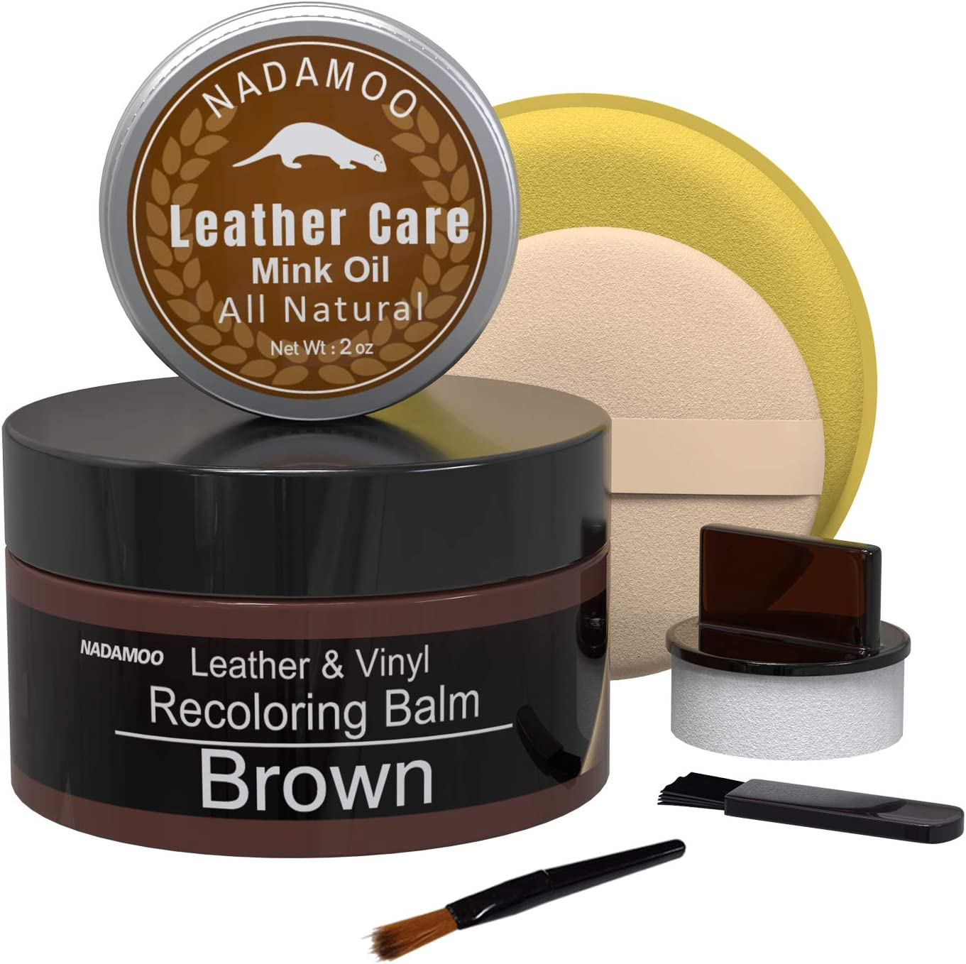NADAMOO Brown Leather Recoloring Balm with Mink Oil Leather Conditioner, Leather Repair Kits for Couches, Restoration Cream Scratch Repair Leather Dye For Vinyl Furniture Car Seat, Sofa, Shoes