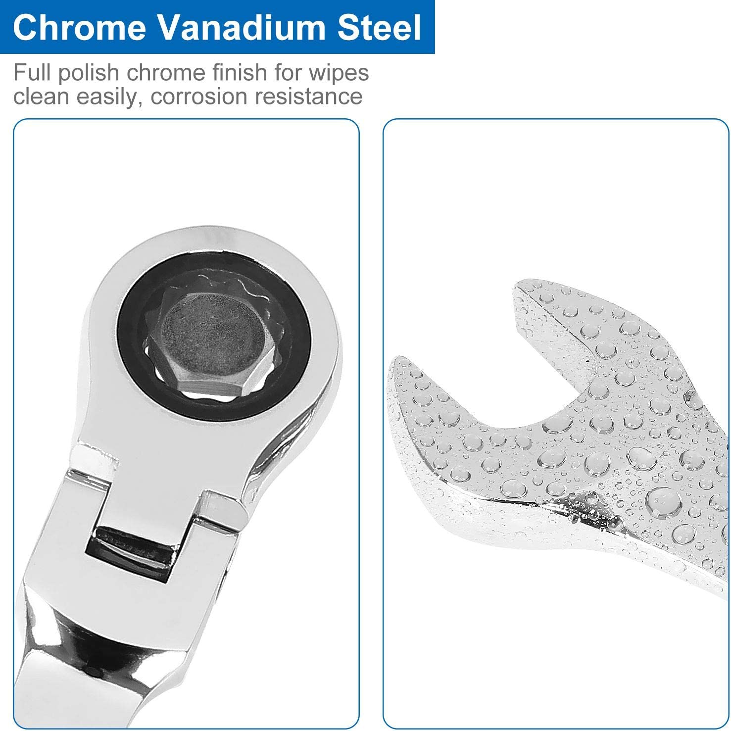 11mm 2 PCS Reversible Ratcheting Combination Wrench with Tight Spaces Flexible Head Gear Wrench with 5/° Movement 13mm