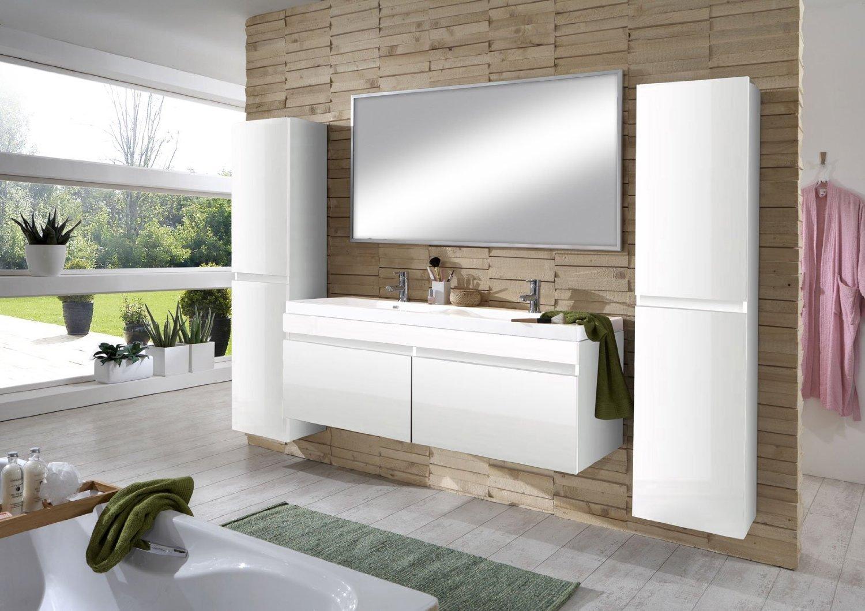 SAM® Design Badmöbel Set 4tlg in Hochglanz weiß, 140 cm Doppel ...