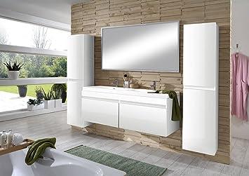 SAM® Design Badmöbel Set 4tlg in Hochglanz weiß, 140 cm Doppel ... | {Badezimmermöbel weiß 73}