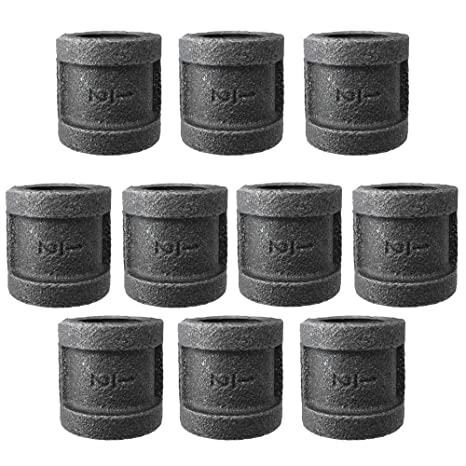 Pleasant Ibeutes 10 Pack Black Pipe Fittings 1 2 Inch Malleable Iron Coupling Diy Pipe Furniture 1 2 Inch Threaded Pipe Nipples Industrial Piping Plumbing Creativecarmelina Interior Chair Design Creativecarmelinacom