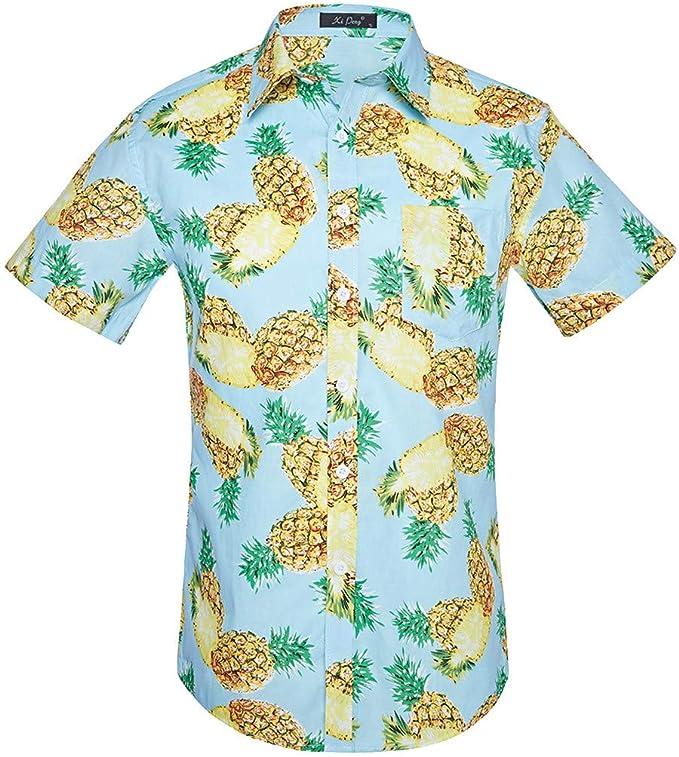 ACEBABY Camisa Hawaiana Camisa Piñas Camiseta Manga Corta con Estampado de Estilo étnico Hombre Verano Camisa del Tema en la Fiesta de Bodas Cumpleaños Camiseta España: Amazon.es: Ropa y accesorios
