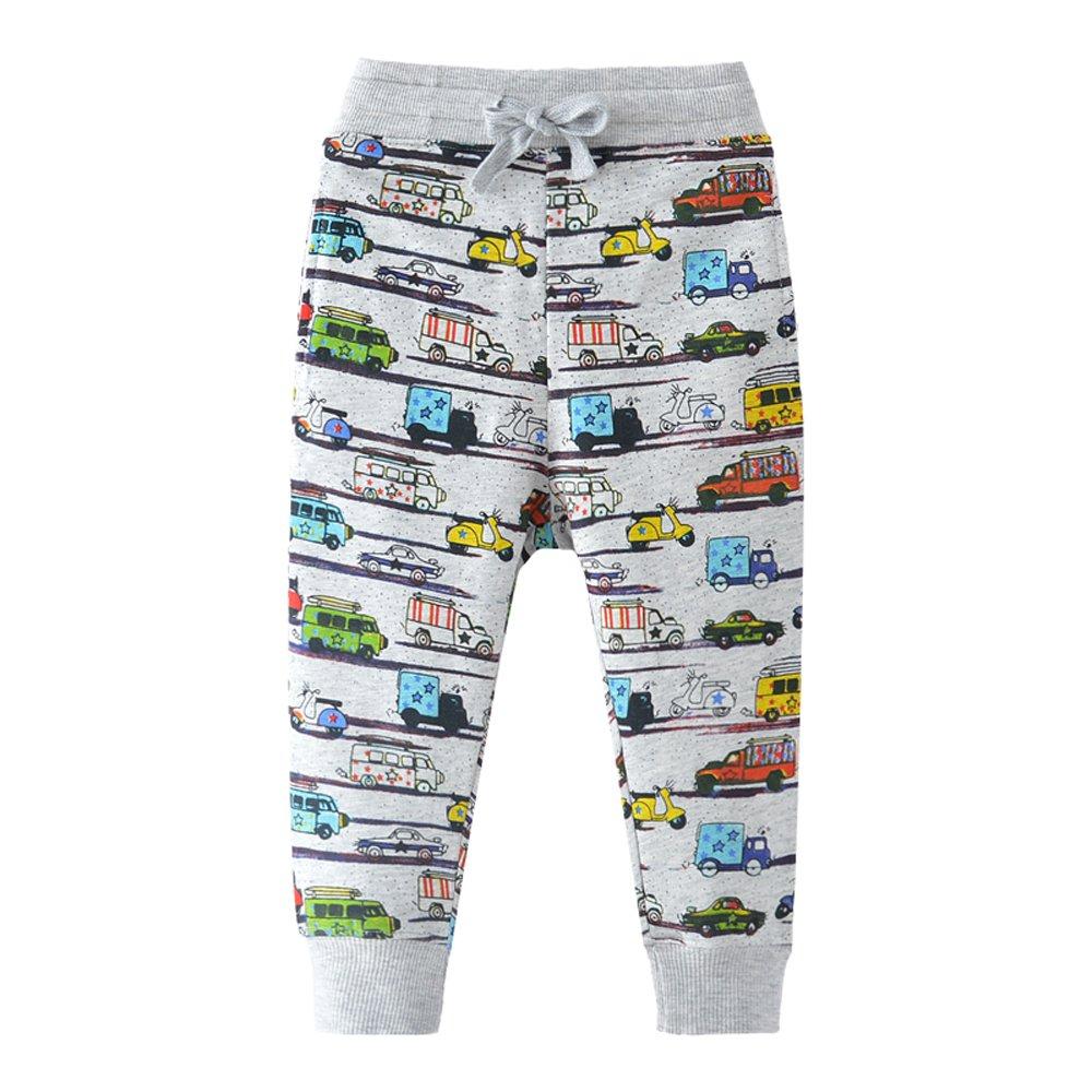 HUAER& Boys Print Car Pattern Cotton Pants Drawstring Elastic Sweatpants (4-5T(height100-110cm/38-42inch), 7016) by HUAER&