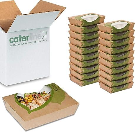 Paquete de 50 cajas de papel kraft para ensalada con una ventana transparente   100% biodegradable y FSA verificado como sostenible y respetuoso con el medio ambiente: Amazon.es: Hogar