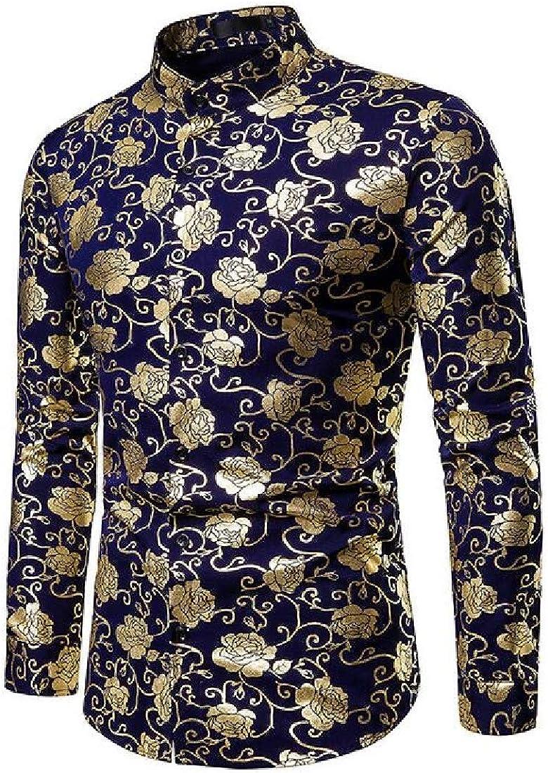 BYWX Men Slim Print Casual Business Long Sleeve Stand Collar Button Down Dress Work Shirt