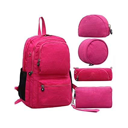 Amazon.com: Women Backpack 5Pcs/Set Mochila Escolar Feminina School Bag for Teenager Girl Nylon Backpacks Female Sac A Dos,Rose Red: Computers & Accessories