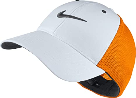 461ed1c7fe5 Buy Nike Men s Legacy 91 Tour Mesh Fitted Golf Hat (Vivid Orange White Grey)