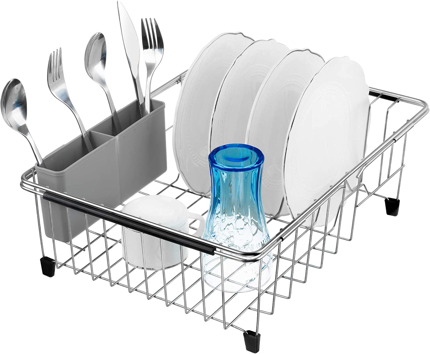 Slideep Expandable Dish Drying Rack, 304 Stainless Steel Over the Sink Dish Rack, in Sink or On Counter Dish Drainer with removable Utensil Holder Grey