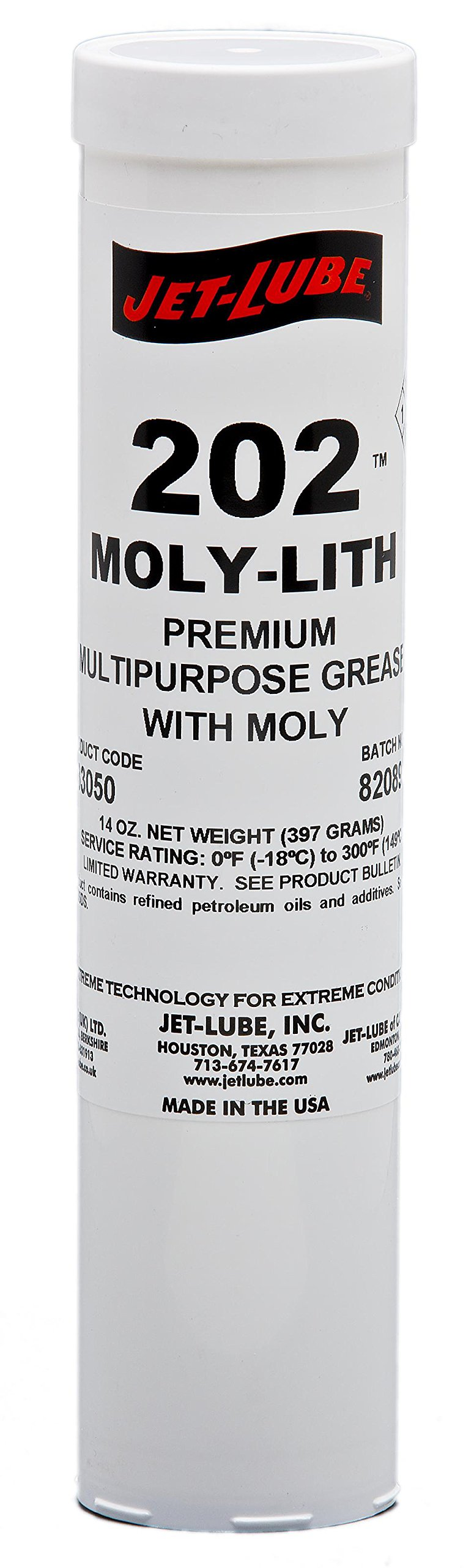 Jet-Lube 33050 #202 Moly-Lith Grease, 0 to 300 degrees F, 2 NLGI Number, 14 oz Cartridge, Black by Jet-Lube