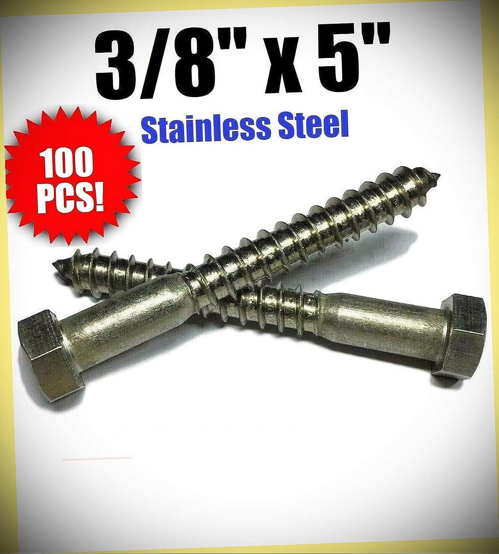 """Package von 100 (Pcs) 3/8\"""" X 5\"""" Lag Screws Hex Kopf Stainless Steel 18-8/304 Satz #Rd-5206Fst Warranity durch Pr-Mch"""
