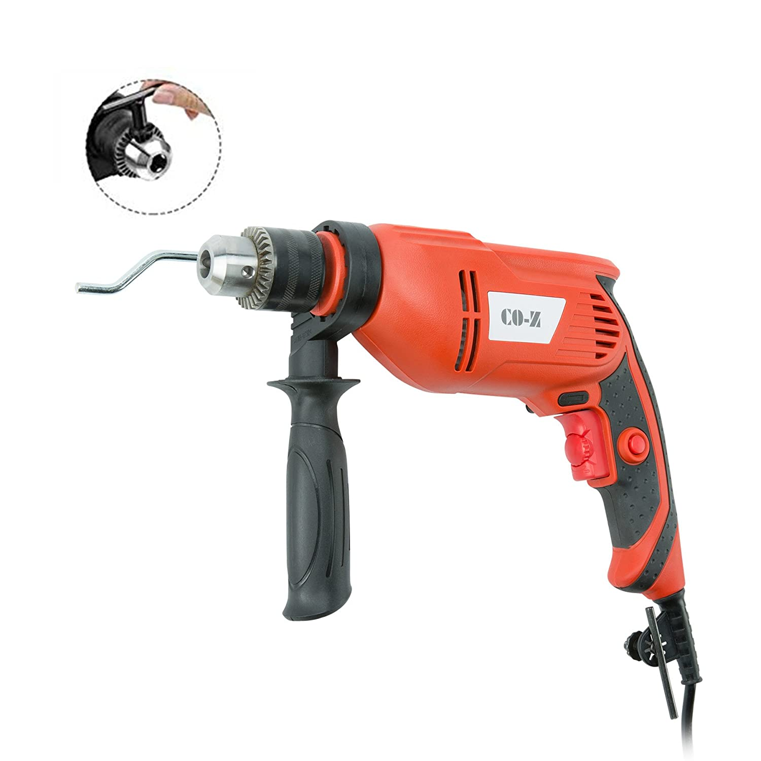 CO-Z Hammer Drill, 3000rpm Corded Dual Drill Switch Between Electric Drill and Impact Drill, 750W Powerful 1/2 3/8 Drill with Adjustable Speed for Drilling Wood, Steel, Masonry, Cement, Concrete