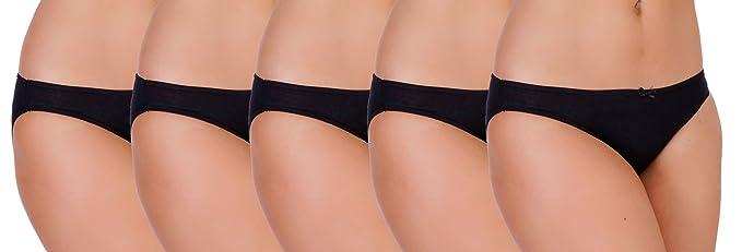 Ladies Anucci Brand Plain /& Mixed Prints Hi-Leg Brief knickers Underwear 5 pack