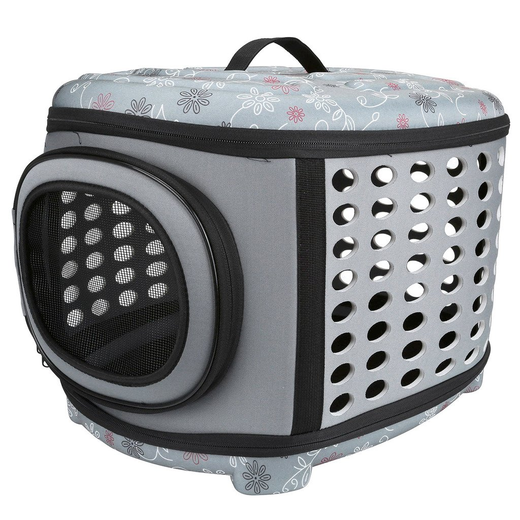 Mogoko Collapsible Hard Cover Sturdy Pet Travel Carrier, Portable Lightweight Pet Kennel Comfortable EVA Transporter Airline Approved Animal Crate Cage for Dogs Cats Rabbits Small Pets (Grey Color)