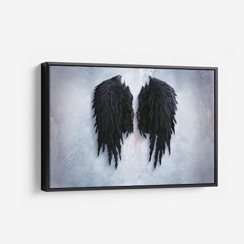 Banksy Black Angel Wings Canvas Wall Art Framed Print