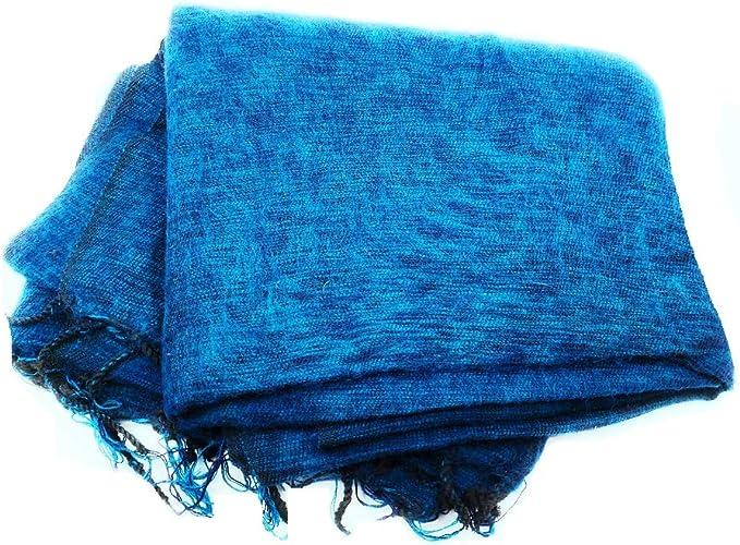 Handmade Light Soft Warm Natural Yak Wool Turque Blue Blanket Shawl Scarf Winter