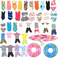 Miunana Lot 12 Pcs Handmade Clothes and Accessories Set for Ken and 11.5 Inch Dolls| Random 3pcs Swim Trunks for Ken + 5 pcs Swimsuits for Girl Doll + 1 Surf Skateboard + 2 Lifebuoys
