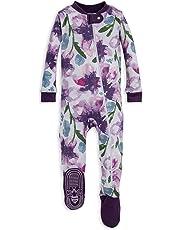 98380ef31ce1 Burt's Bees Baby - Baby Girls Sleeper Pajamas, Zip Front Non-Slip Footed  Sleeper
