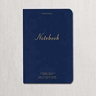 "product image for Crane & Co. Engraved""Notes"" on Navy Blue Medium Notebook - Pack of 2"