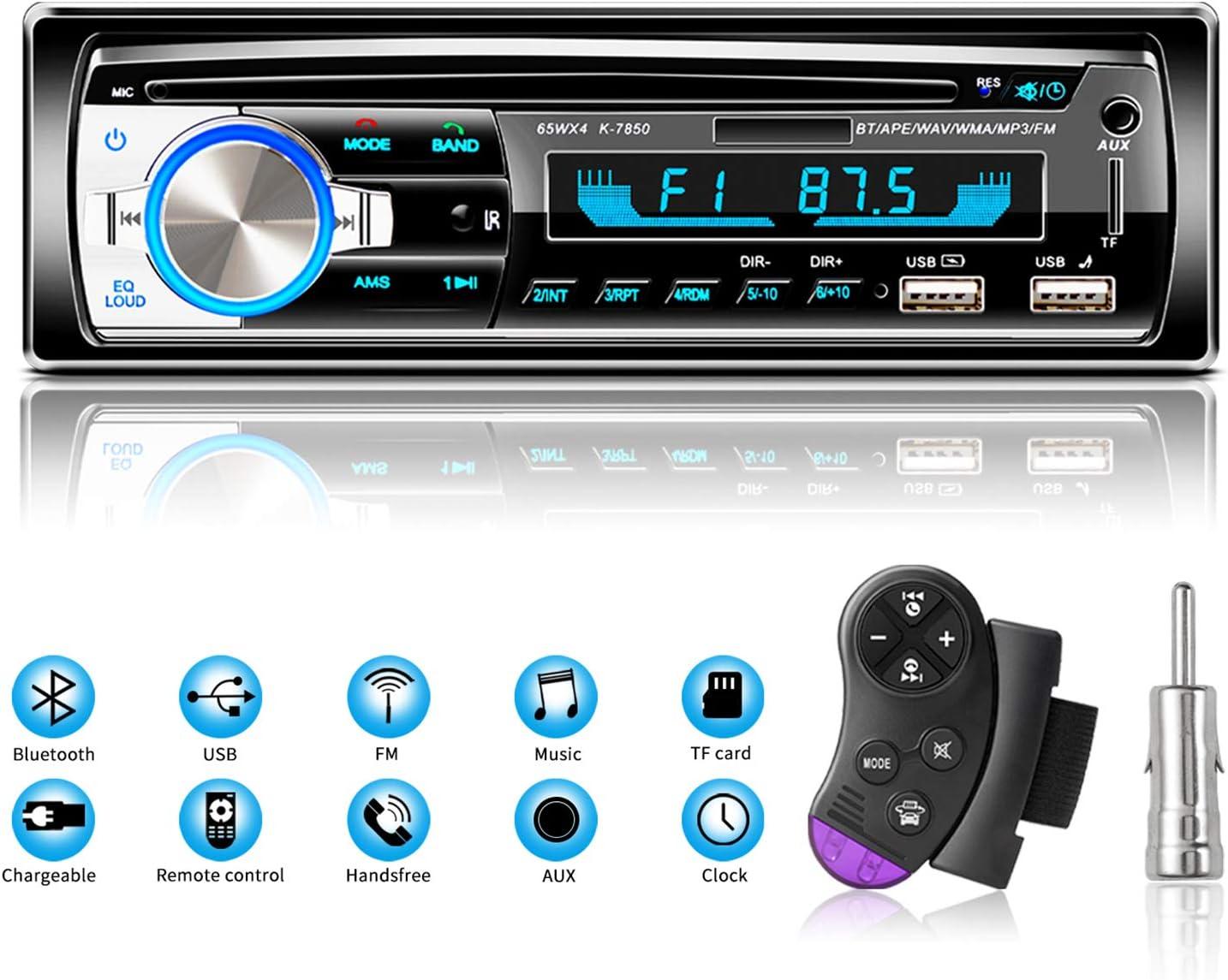 Autoradio Bluetooth Manos Libres Radios de Coche, Lifelf Radio Estéreo 4 x 65 W 1 Receptor de Radio para Coche DIN con Reproductor de MP3, Control Remoto WMA FM, Dos Puertos USB, Soporte iOS, Android