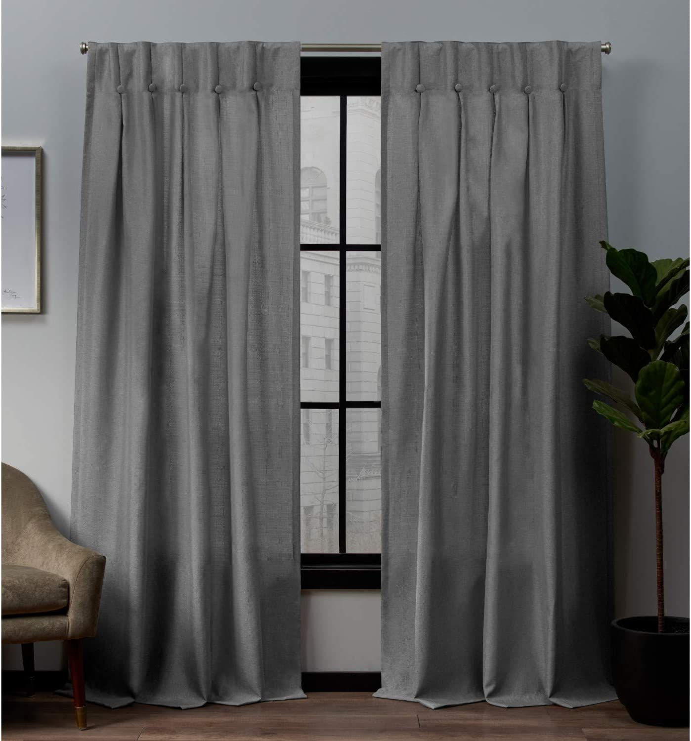 Exclusive Home Curtains Loha Linen Button Top Curtain Panel Pair, 32x84, Black Pearl