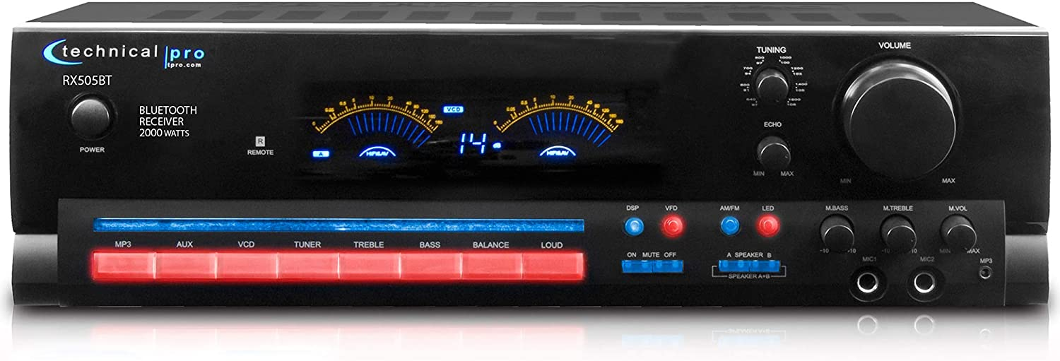 Technical Pro 2000 Watts Bluetooth Receiver with Digital Spectrum, 2 Mic Inputs, Cooling Speed Fan, Echo Fluorescent, Output Meter, Removable Mount Rack, AM FM Manual Tuner, for Home Audio Receiver