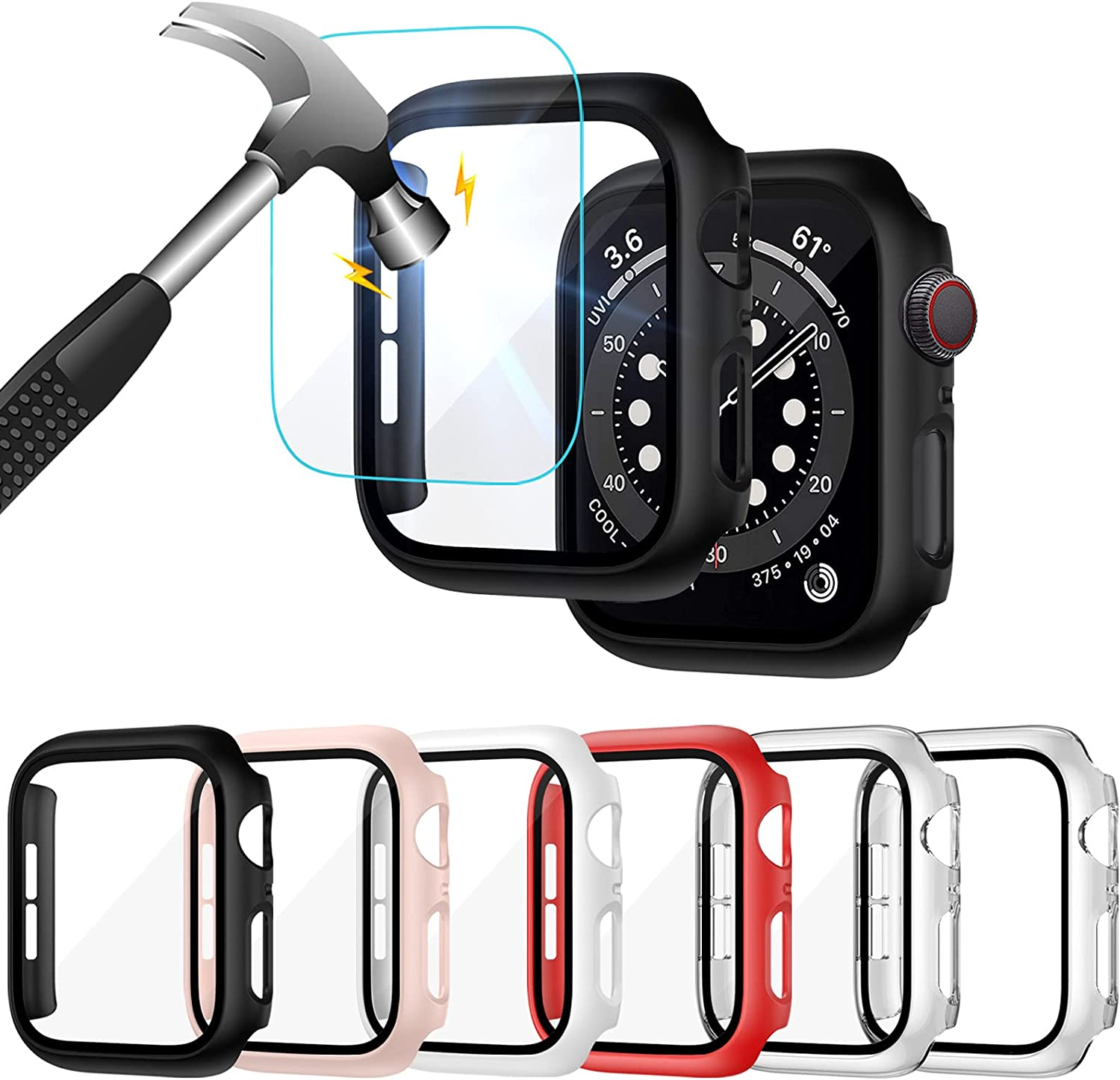 Liwin 6-Pack PC Case Built in Tempered Glass Screen Protector Compatible with Apple Watch SE/Series 6 / Series 5 / Series 4 40mm, Hard PC Full Protective Cover Bumper Compatible with iWatch 40mm