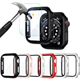 Liwin 6-Pack PC Case Built in Tempered Glass Screen Protector Compatible with Apple Watch SE/Series 6 / Series 5 / Series 4 4