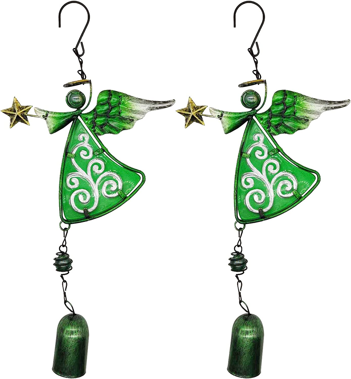 VOKPROOF Angel Wind Chimes - Fairy Garden Decor Wind Bells Indoor and Outdoor Decoration, Metal Musical Wind Chime for Home, Patio, Festival Gifts for Mom (Set of 2 Green Angels)