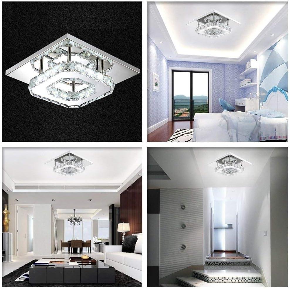 12W Moderne LED Plafonnier Cristal Brillant Miroir Acier Inoxydable Luminaire Lustre Eclairage pour Salon Couloir Chambre /à coucher