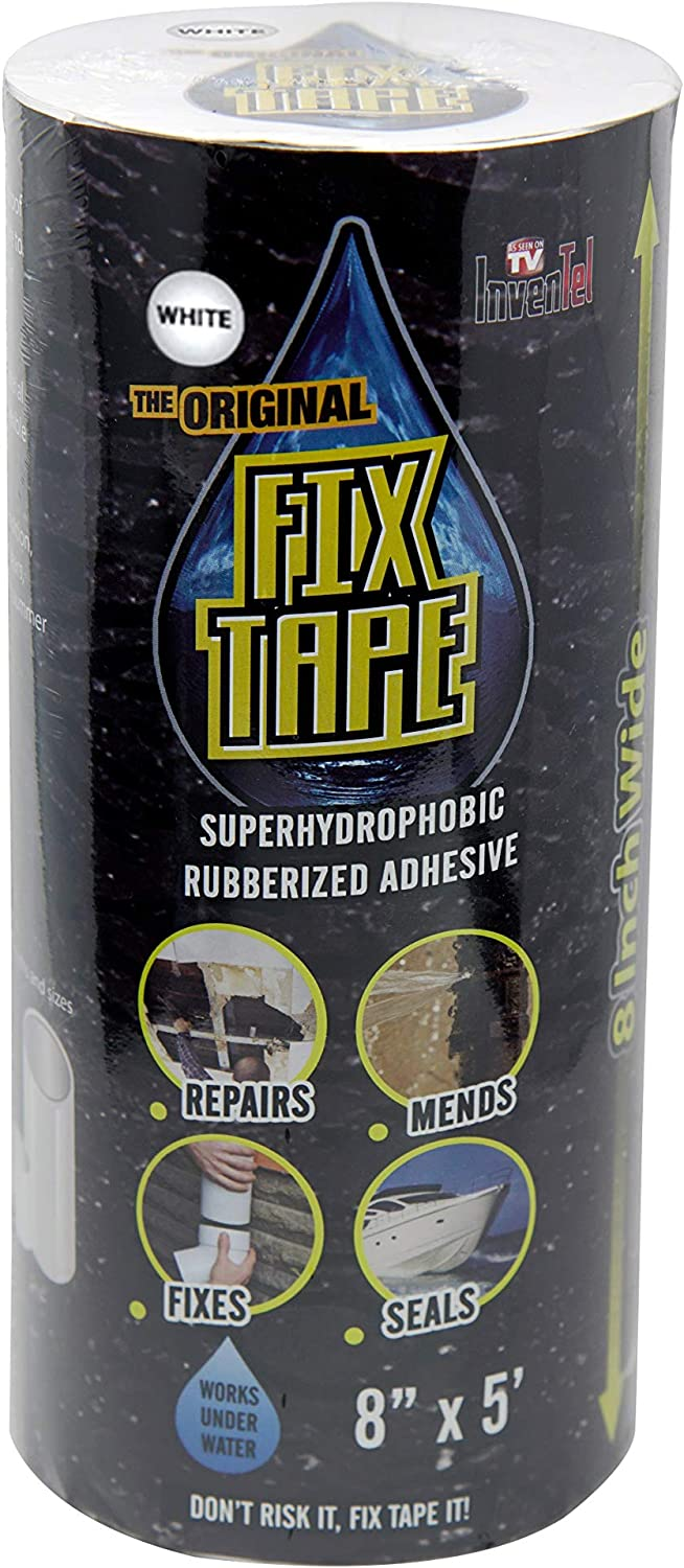 The Original Fix Tape (As Seen On TV), Rubberized Waterproof Adhesive Seal Tape, Patch and Repair Cracks, Pipes, Roof, Boat Leaks (White, 8 inches x 5 feet)