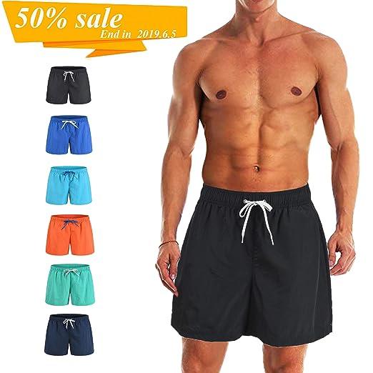 afcfe3b5b5 Freetrack Men's Swim Trunks Quick Dry Beach Shorts Board Short Bathing  Suits Mesh Lining Swimwear with