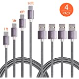 Micro USB Cable,OfsPower 4Pack 1FT 3 FT 6FT 10FT Nylon Braided Micro USB Syncing and Charging Data Cable for Android, Samsung Galaxy, HTC, Nokia,and Other Tablet Smartphone