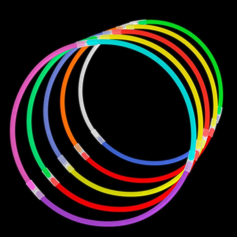 Accessori Neon per Ragazze o Ragazzi Glowz Glow Sticks Glow in The Dark Braccialetti Premium Confezione da 100 Pezzi Colori Misti