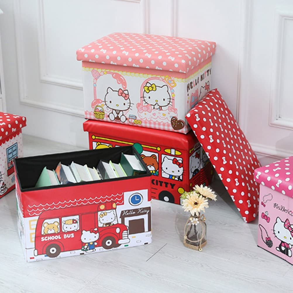 TOPBATHY Foldable Storage Bins with Lids Cute Fire Truck Pattern PU Storage Box Basket Containers Organizer Bench for Home Bedroom Clothes Toys Closet